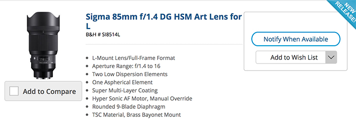 New Sigma L-mount lenses and MC-21 adapter now listed at